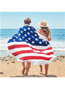 American Flag Pattern Design Round Beach Throw Mat