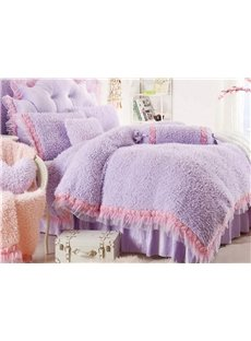 Super Soft Plush Princess Style Girls 4-Piece Duvet Cover Set