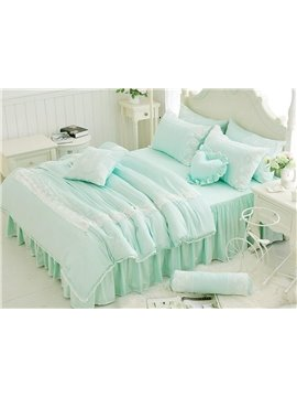 Bright Lace Trim 4-Piece Cotton Duvet Cover Sets