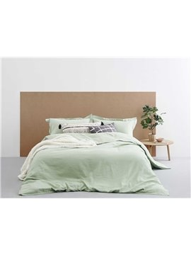 Fresh Solid Green Linen 4-Piece Duvet Cover Sets