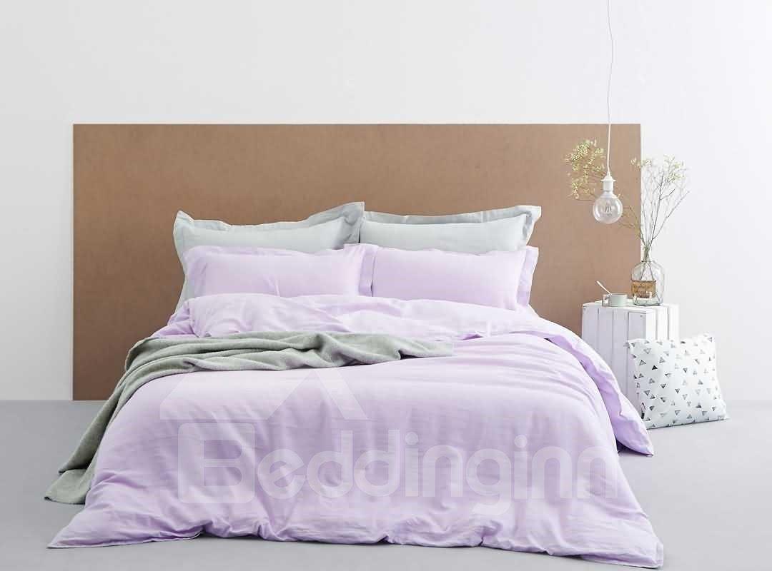 Sweet Light Purple Linen 4-Piece Duvet Cover Sets