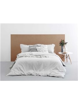 Vintage Style Light Gray Linen 4-Piece Duvet Cover Sets