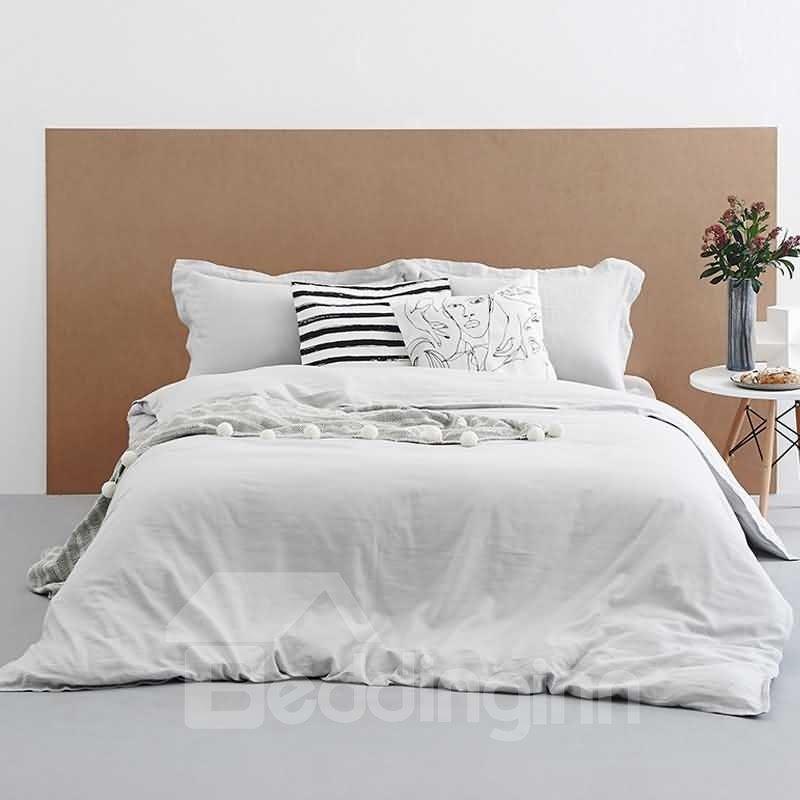 vintage style light gray linen 4 piece duvet cover sets. Black Bedroom Furniture Sets. Home Design Ideas