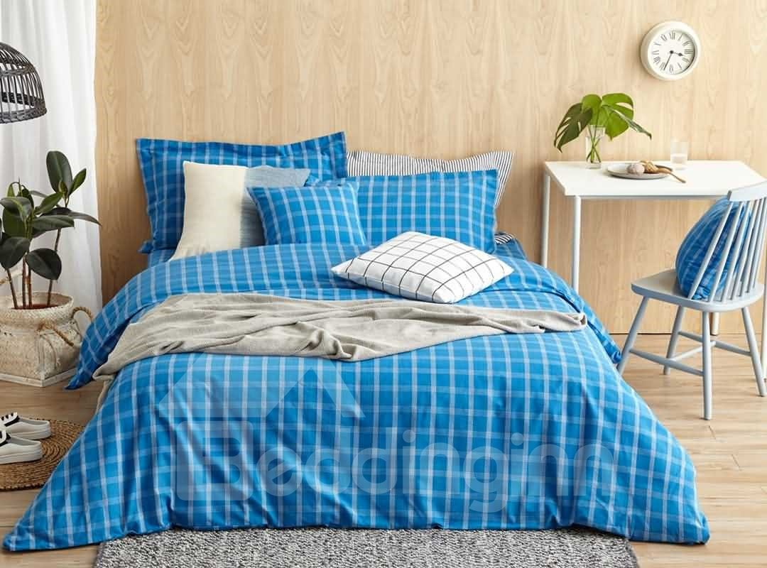 Contemporary Blue Plaid Print 4-Piece Cotton Duvet Cover Sets 12674644