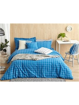Contemporary Blue Plaid Print 4-Piece Cotton Duvet Cover Sets