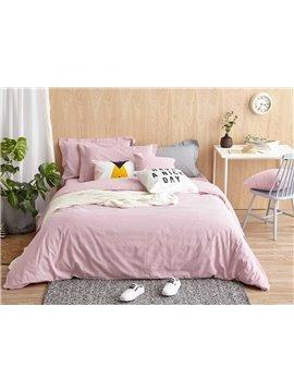 Dreamy Pink Stripe Print 4-Piece Cotton Duvet Cover Sets