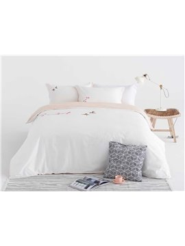 Lovely Sparrow Embroidery White 4-Piece Cotton Duvet Cover Sets