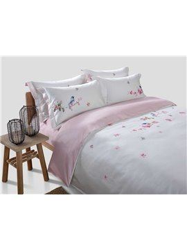 Beautiful Bird and Flower Digital Printing 4-Piece Cotton Duvet Cover Sets