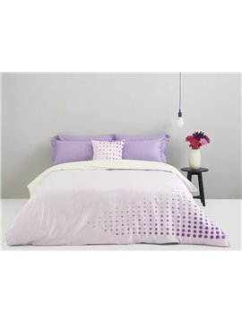 Romantic Purple Circle Print 4-Piece Cotton Duvet Cover Sets