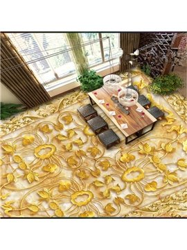 Fancy Golden Flower Pattern Home Decorative Wall Paper Nonslip and Waterproof 3D Floor Murals