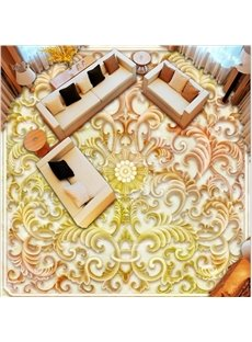Classic Flower Pattern Living Room Decoration Waterproof 3D Floor Murals