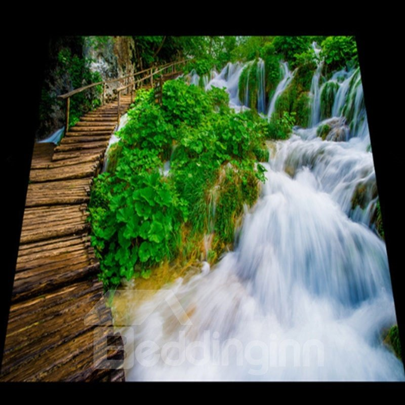 Wonderful decorative waterfall and bridge pattern for 3d waterproof wallpaper