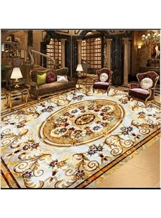 Classic Decorative Flower Pattern Waterproof Splicing 3D Floor Murals