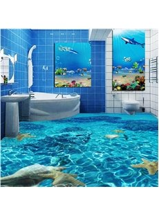 Realistic Limpid Seawater Pattern Nonslip and Waterproof 3D Floor Murals