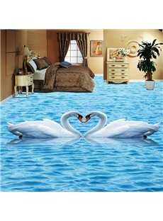 Lovely Romantic Swan Couples in the Lake Pattern Waterproof Splicing 3D Floor Murals