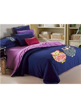 Concise Owls Pattern Print 4-Piece Duvet Cover Sets