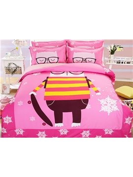 Creative Glasses Men Pattern Kids 4-Piece Duvet Cover Set