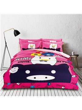 Lovely Black and White Pig Couple Pattern Kids 4-Piece Duvet Cover Set