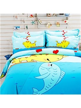 Bright Cat Kissing Fish Pattern Kids 4-Piece Duvet Cover Set