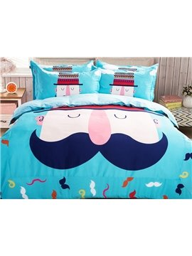 Cute Beard Man Pattern Kids 4-Piece Duvet Cover Set