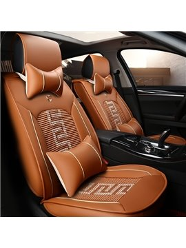 Unique Combined Pattern Durable PVC Leather Universal Car Seat Cover