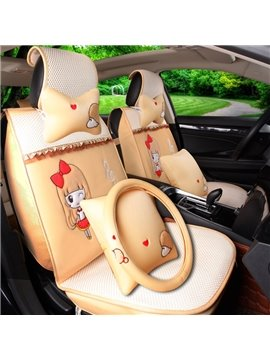 Beautiful Girl In Bow Pretty And Cute Lace Design Ice Silk Material Universal Car Seat Cover