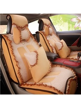 Fashion Women Lace Style Design Velvet Soft Universal Car Seat Cover