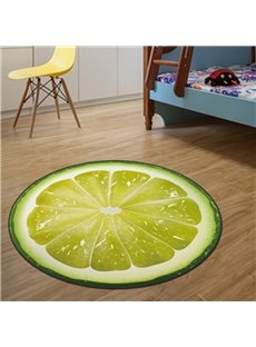 Green Round Creative Lemon Pattern Home Decorative Blended Washable Area Rug