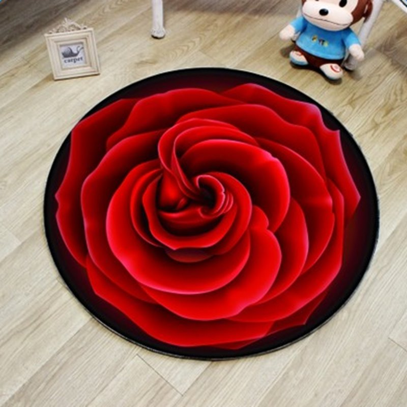 Gorgeous Round Rose Pattern Blended Washable Water