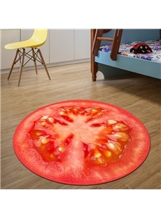 Realistic Round Tomato Pattern Design Washable Blended Decorative Area Rug