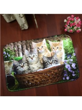 Lovely Rectangle Cute Cats in the Basket Washable Water Absorption Doormat