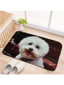 Modern Design Polyester Rectangle Cute Dog Pattern Home Decorative Doormat