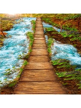 Natural Wooden Bridge over the Stream Scenery Pattern Waterproof 3D Floor Murals