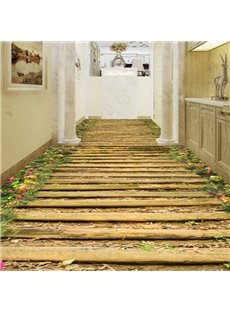 Amazing Modern Design Bridge and Flower Pattern Decorative Waterproof 3D Floor Murals