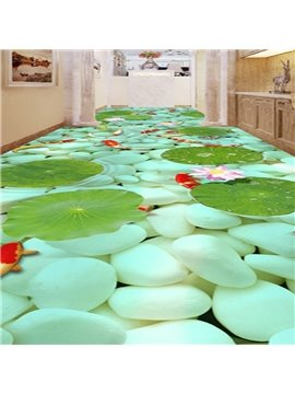 Green Cobblestones and Goldfishes in the Water Pattern Waterproof Splicing 3D Floor Murals