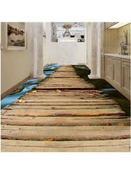 Unique Design Bridge Over the River Pattern Decorative Waterproof 3D Floor Murals