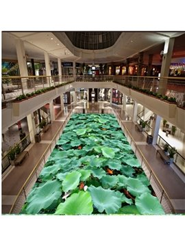 Modern Design Green Lotus Leaves and Goldfishes Pattern Waterproof 3D Floor Murals