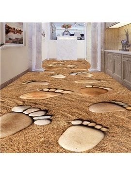 Awesome Stone Footprints Pattern Home Decorative Waterproof Splicing 3D Floor Murals