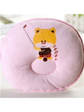 Cute Pink Cat Face Design Prevent Flat Head Baby Pillow