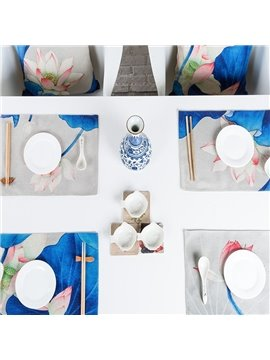 Elegant Blue Rectangle Lotus Pattern 4 Pieces Heat Resistant Table Placemats