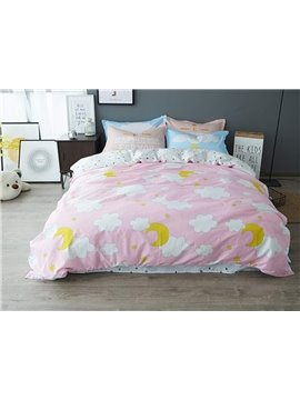 Cute Cloud Pattern Pink Kids 100% Cotton 4-Piece Duvet Cover Sets