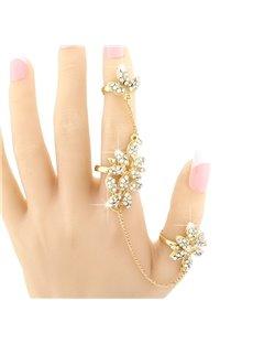 Shining Golden Floral Shape Rhinestone Inlaid Ring