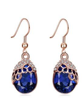 Attractive Water Droplets Shape Rhinestone Pendant Earrings