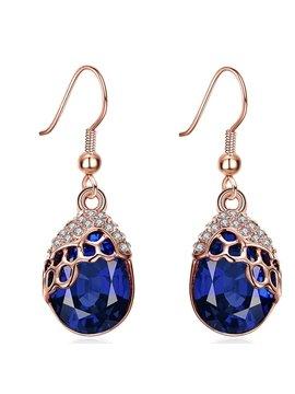 Attractive Water Droplets Shape Rhinestone Pendant Earrings