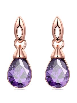 Purple Aritical Stone Inlaid Water Drop Shaped Earrings