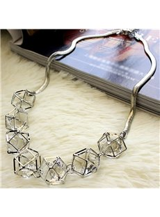 Stylish Hollow Geometry Crystal Inlaid Design Statement Necklace