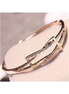 Fashion Rhinestone Inlaid Rectangle Design Alloy Bracelet