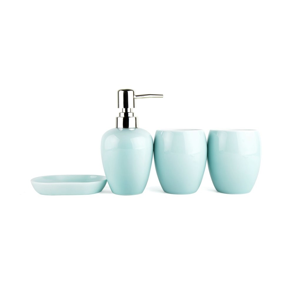 Light colored glaze ceramics 4 pieces bathroom accessories for Coloured bathroom accessories set