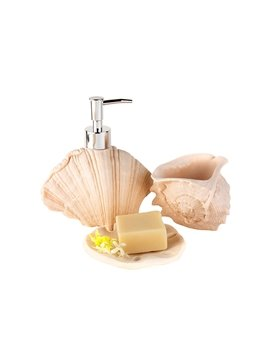 Chic Shell Design Resin 3-Pieces Bathroom Accessories