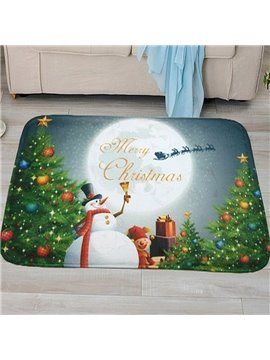 Christmas Theme Snowman Printing Anti-Slipping 3D Bath Rug